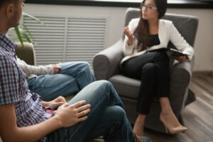 Couple meeting with a divorce mediator